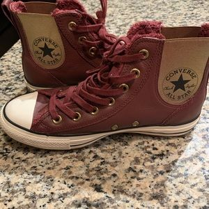 Brand new - never worn maroon leather converse